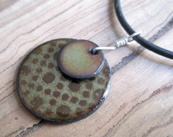 Olive Green and Chestnut Brown Copper Enamel Necklace Pendant