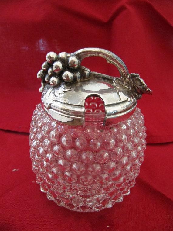 Hobnail Jam Jar with Grape Motif Lid