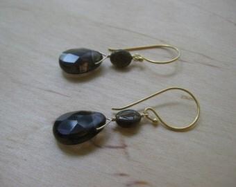 Insouciant Studios Mink Earrings Petro Tourmaline and Smokey Quartz