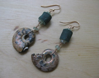 Insouciant Studios Green Water Earrings Malachite and Ammonite
