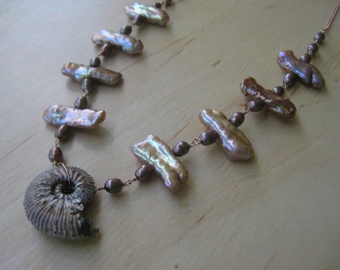 Insouciant Studios Golden Sands Necklace Ammonite Biwa Pearl Wedding Statement