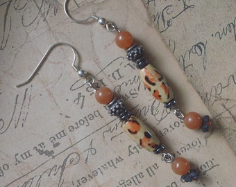 Red Aventurine and Leopard Tribal Earrings