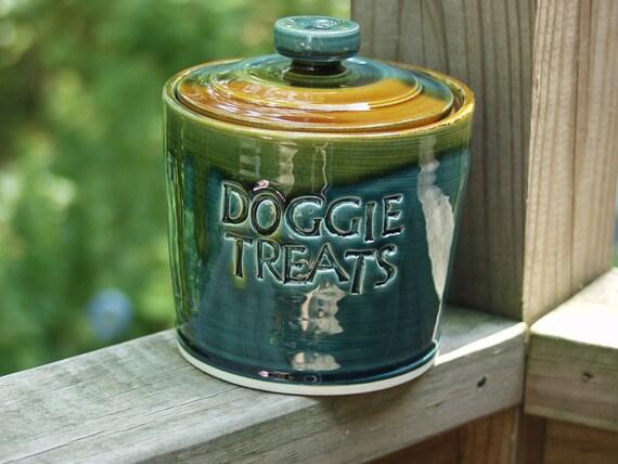Doggie Treats Jar Canister Lidded Storage Jar Peacock Amber Ready to Ship