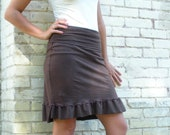 Ruffle Pencil Skirt - Hemp & Organic Cotton - Wide Waistband