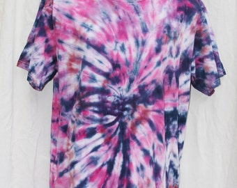 Tie Dye Shirt -  Adult Medium- Crew Neck - Short Sleeve -Pink , Purple and Navy Blue
