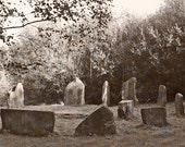 Irish Photography Ireland Photo Landscape Print Stone Circle Dorm Decor Fine Art Photo Celtic Decor 5 x 7 Photograph Sepia Print