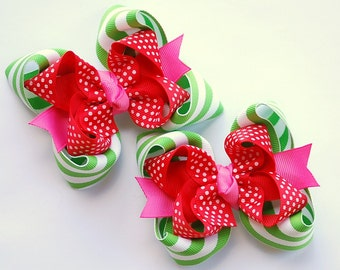 boutique set of 2 STRAWBERRY GIRL hair bow clips
