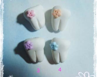 Tooth Polymer Clay Charm Bead, Scrapbooking, Bow Center, Pendant, Cupcake topper, Magnet, Ring