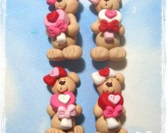 Valentine Heart Lollipop Bear Polymer Clay Charm Bead Scrapbooking Embelishment Bow Center Pendant Cupcake Topper