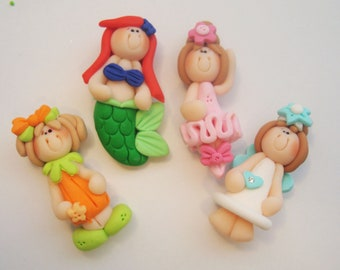 Mini Mix Set Tooth Pumpkin, Mermaid, Snow, Ballerina Polymer Clay Charm Bead Scrapbooking Embelishment Bow Center Pendant Cupcake Topper