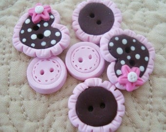 Free Ship Choco Heart with Lace Trim Handmade Polymer Clay Button Hair BOw Center
