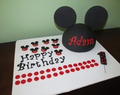 Mickey Mouse Inspired Dome Head, Ears, Polka Dots, Complete Fondant Cake Topper Set