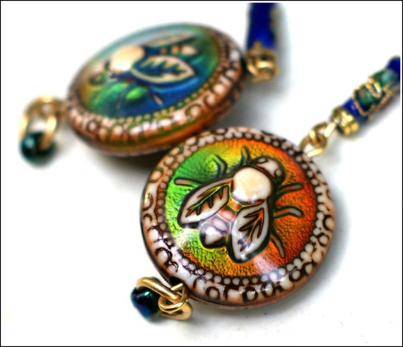 Mood Bead Bee Earrings with Cloisonné Detail