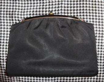 Vintage Twifaille by Rosenfeld black fabric evening handbag, Fully lined, Top clasp, 2 interior side pockets, early 1940s, A real find