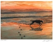 Perfect Moment - Black Dog at Sunset Print