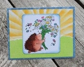 Hedgehog floral card