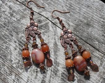 Earrings - Oregon Picture Jasper and copper