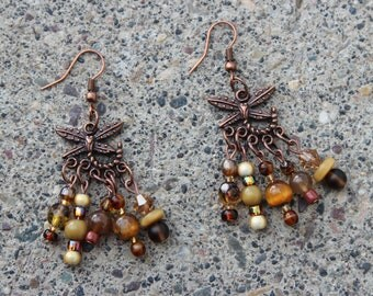 Earrings - antiqued copper and golden brown