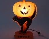 "Vintage Halloween Decoration Black Cat Pumpkin 'AS IS"" CONDITION"