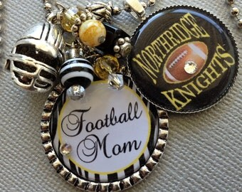 Football Necklace, Football Mom, SPORTS jewelry, school colors, mascot,  helmet, knights, school spirit, jersey number, charm necklace