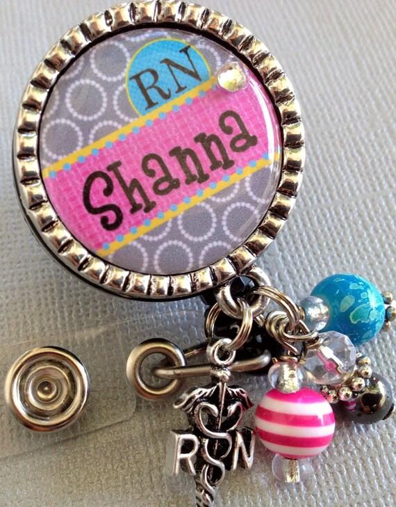 Personalized RN Nurse ID Badge Reel- Christmas gift, geometric print, medical symbol, nurse graduate, LMT, nurse assistant, student nurse