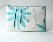 Pleated Clutch Purse, Blue Gray Flower, Zippered Pouch