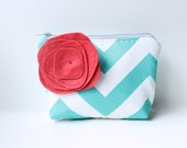 Aqua and Red Chevron Cosmetic Bag with Flower Brooch, Personalized Bridesmaid Gift , Zipper Pouch, Make Up Bag