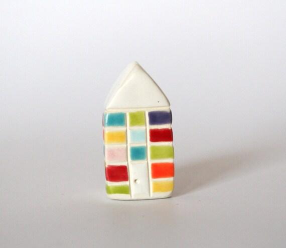 Miniature Brick Ceramic Little House White Multicolor Plaid