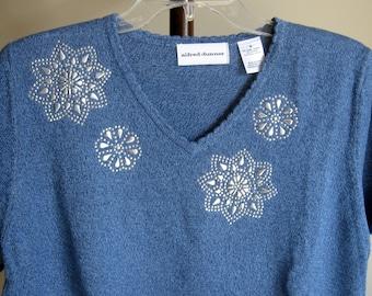Vintage Denim-Blue Sweater with Silver Stud Snowflakes
