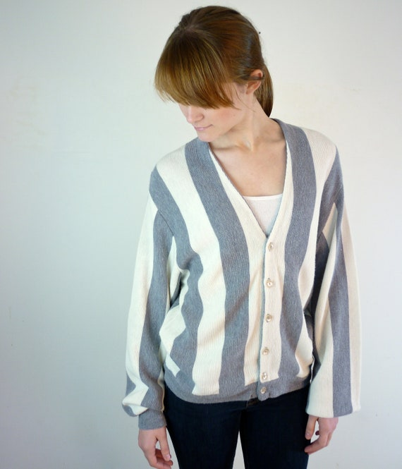Striped Cardigan / Gray Striped Sweater