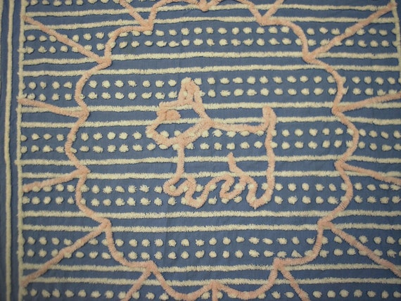 Adorable Vintage 1940s Scottie Dog Blue and Pink Chenille Crib Spread