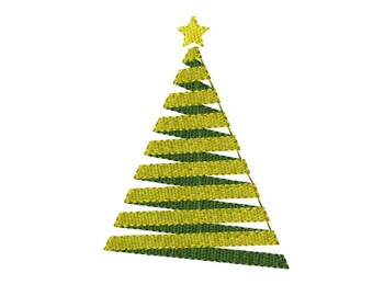 INSTANT Download - Christmas tree machine embroidery design 4 sizes