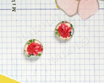 Sale - 10pcs handmade red flower round clear glass dome cabochons 12mm (12-0023)