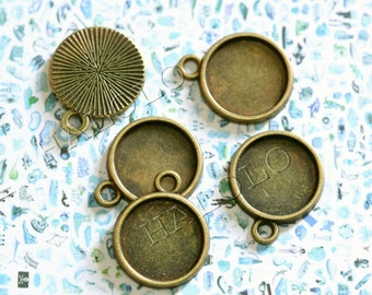 10 pcs antique bronze round base - for 12mm round cabochons. BN377B