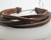 Men Brown Braided Leather Cuff