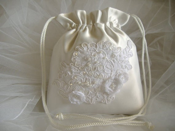 WEDDING BRIDAL Drawstring Bag Hand Beaded Heirloom bag OOAK