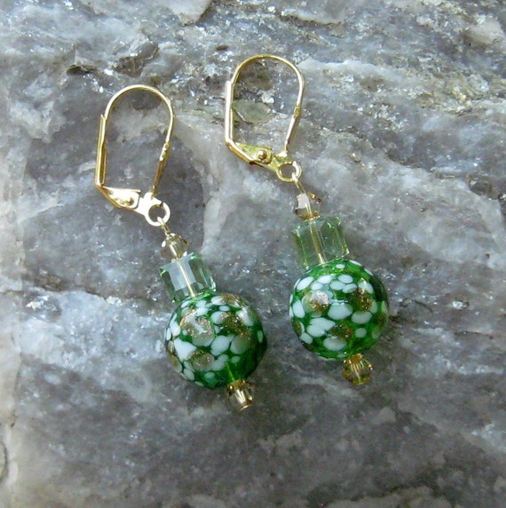 Clearance KELLY GREEN Handmade LAMPWORK Hollow Glass Ball Dangle Earrings Lime Green on Gold Leverbacks Dawn of Creation
