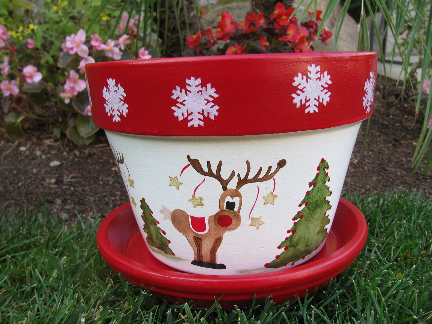 Holiday christmas flower pot for Clay pots designs