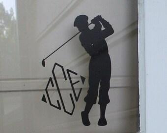 Golfer Monogram Vinyl Decal