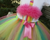 Custom Girls BIRTHDAY  outfit - CUPcAKE  tee and RAINBOW BRIGHTS  tutu set in sizes  6-12-18-24 mth 2-3-4-5-6-7-8