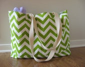 Beach Bag Extra Large - Chartreuse Chevron Beach Tote - Water Resistant Lining - Interior Pocket