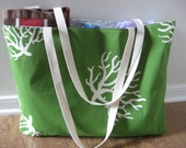 Beach Bag Extra Large - White Sea Coral on Chartreuse Beach Tote - Water Resistant Lining - Interior Pocket