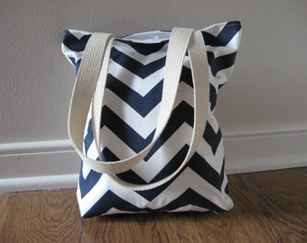 Lunch Bag, Mini Tote, Chevron Bag, Lunch Tote, Chevron Tote Bag, Navy Blue