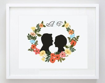 Personalized Wedding Gift - Bride, Groom, Bridesmaides Gift, Silhouette Print, Flower Wreath, Anniversary Gift