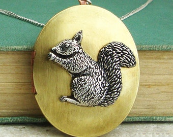 Squirrel Locket Necklace. Antiqued Silver Pewter and Vintage Brass Locket Necklace