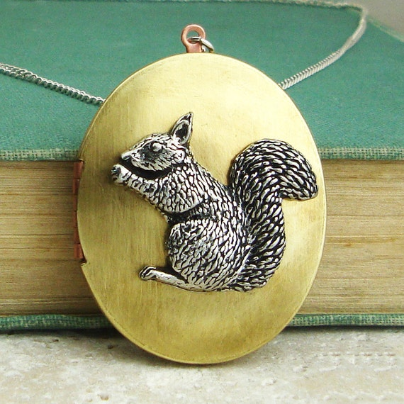 Squirrel Locket Necklace. Antiqued Silver Pewter and Vintage Brass Locket Necklace