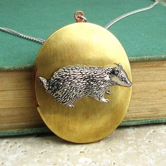 Badger Locket Necklace. Antiqued Silver Pewter and Vintage Brass Locket Necklace