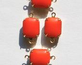 Vintage Opaque Orange to Red Stones in 2 Loop Brass Setting 12mm x 10mm oct005D2