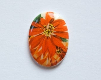 Vintage Red Flower Glass Cabochon Germany 25x18mm cab257