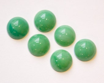 Vintage Opaque Green Glass Cabochons 11mm cab703DD